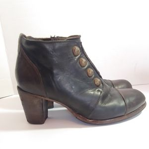 HTC button booties with stacked heel